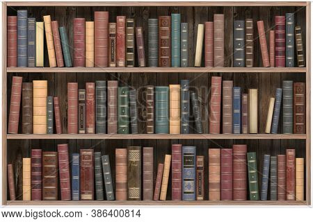 Vintage books on old wooden shelf isolated on white. Old library or antique bookshop.3d illustration