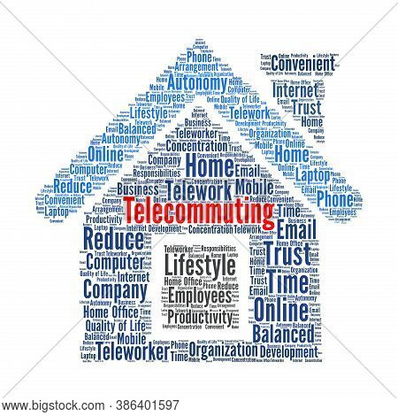 Telecommuting Word Cloud Concept Illustration With A White Background