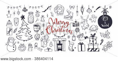 Big Set Of Christmas Design Doodle Elements. Vector Hand Drawn Lettering, Calligraphy . Isolated Chr