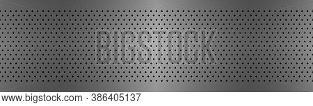 Perforated Metal Texture Header. Aluminium Stainless Steel Grating Abstract Background. Simple Vecto