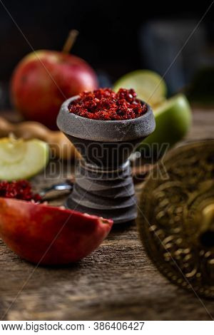 Arabian Stone Hookah Head Filled With Apple And Pomegranade Flavoured Tobacco