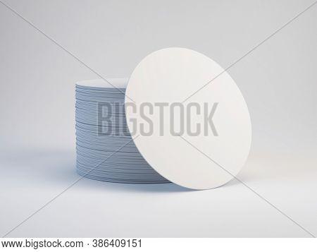 Blank white round beer coasters. Mockup template for branding . 3d rendering