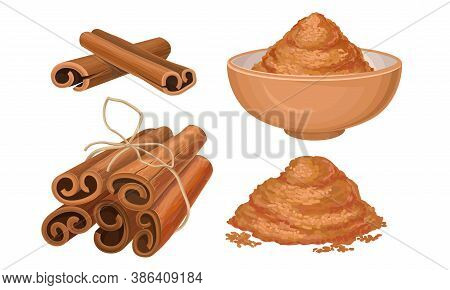 Cinnamon Dried Sticks Or Bark Strips Tied In Bunch And Powder In Bowl Vector Set