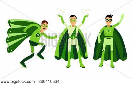 Smiling Man In Green Eco Superhero Costumes Standing And Rushing To The Rescue Vector Illustration S