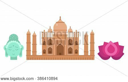 Indian Traditional Symbols With Lotus Flower And Taj Mahal Building Vector Set