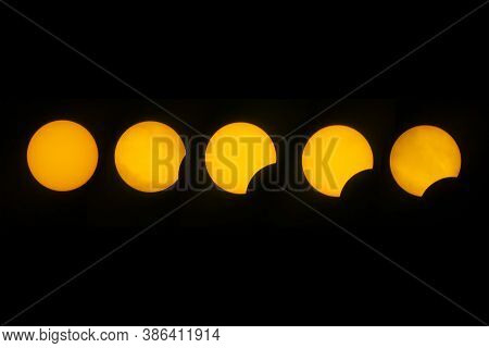 Sequence Photo Of A Partial Solar Eclipse