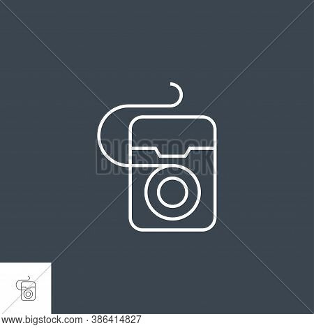 Dental Floss Line Icon. Dental Floss Line Related Vector Icon. Isolated On Black Background. Editabl
