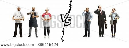 Group Of People With Different Professions Isolated On White Studio Background, Horizontal. Modern W