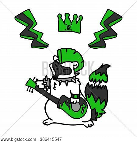 Punk Rock Raccoon With Guitar Illustration Clipart. Simple Alternative Sticker. Kids Emo Rocker Cute
