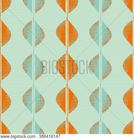 Mono Print Style Tribal Foliage Seamless Vector Pattern Background. Simple Lino Cut Effect Columns O