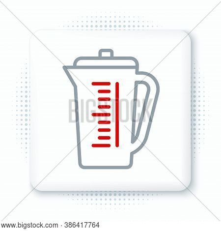 Line Measuring Cup To Measure Dry And Liquid Food Icon Isolated On White Background. Plastic Graduat