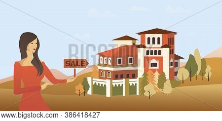 Cottage House And Trees, Town View, For Landing Web Site Template. Real Estate Concept. Realtor And
