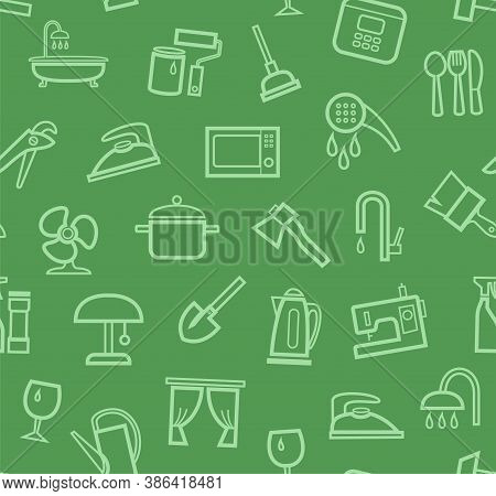 Household Goods And Appliances, Seamless Pattern, Color, Green. Green Icons On A Green Field. Thin O
