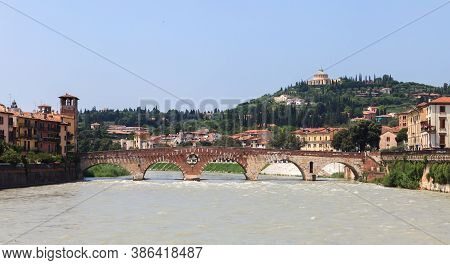 Verona City Landscape. Beautiful Verona View With Pietra Bridge And Adige River. Verona, Italy.