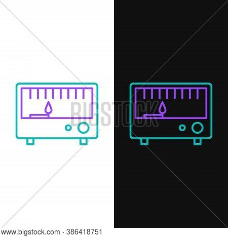 Line Electrical Measuring Instrument Icon Isolated On White And Black Background. Analog Devices. El
