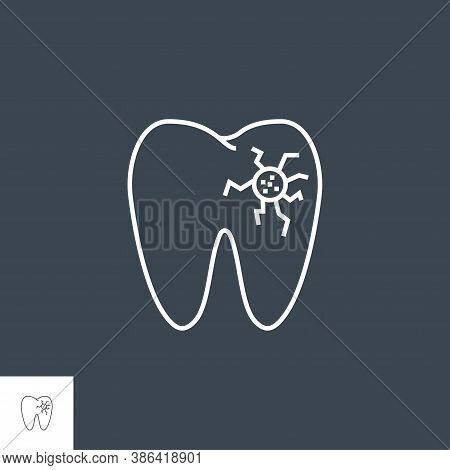 Caries Line Icon. Caries Line Related Vector Icon. Isolated On Black Background. Editable Stroke.