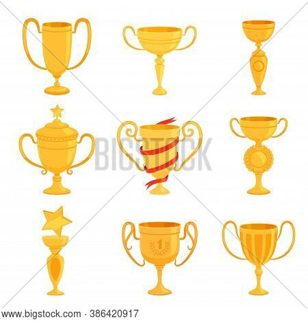 A Set Of Gold Cups Of Different Forms To Award The Winners. Prizes For The First Place In Competitio