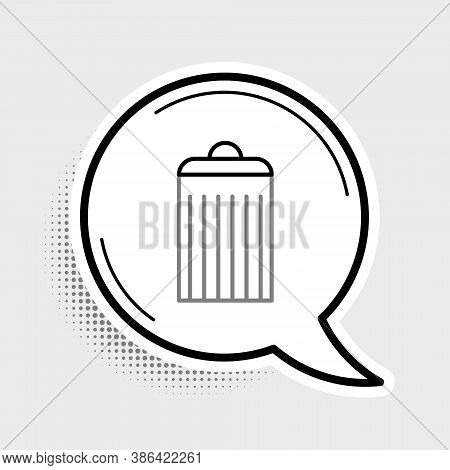 Line Trash Can Icon Isolated On Grey Background. Garbage Bin Sign. Recycle Basket Icon. Office Trash