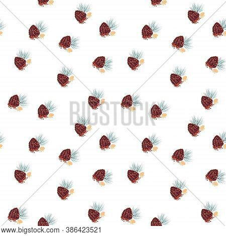 Seamless Pattern Of Pine Nuts , For Wrapping Paper, Wallpaper, Fabric Pattern, Backdrop, Print, Gift