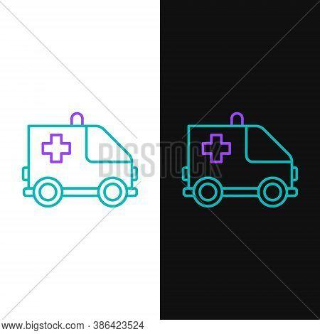 Line Ambulance And Emergency Car Icon Isolated On White And Black Background. Ambulance Vehicle Medi