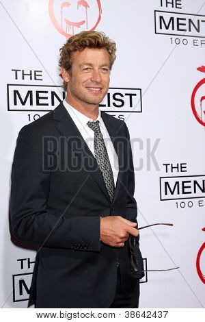 "LOS ANGELES - OCT 11:  Simon Baker arrives at ""The Mentalist"" 100th Episode Party at The Edison on October 11, 2012 in Los Angeles, CA"