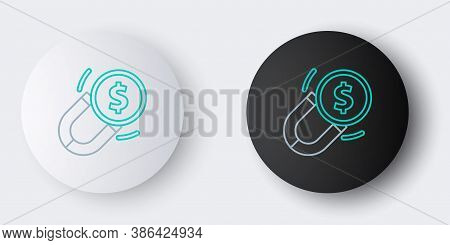 Line Magnet With Money Icon Isolated On Grey Background. Concept Of Attracting Investments. Big Busi