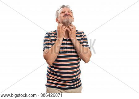 Adult Male Persons Scratching Grey Beard Facial Hair Using Both Hands Wearing Summer Casual Stylish