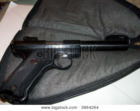 A 11-shot ruger automatic hand gun with