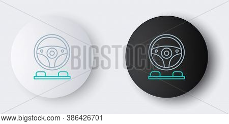 Line Racing Simulator Cockpit Icon Isolated On Grey Background. Gaming Accessory. Gadget For Driving