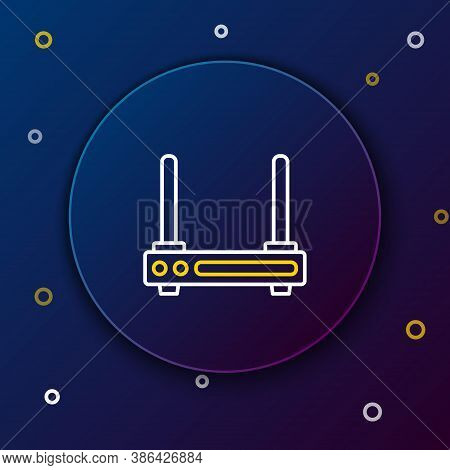 Line Router And Wi-fi Signal Symbol Icon Isolated On Blue Background. Wireless Ethernet Modem Router