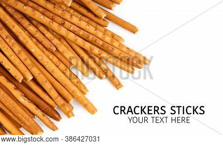 Creative Layout Made Of Crackers Sticks On The White Background. Food Concept. Edible Snack Dry Stic
