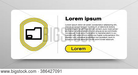 Line Document Folder Protection Concept Icon Isolated On White Background. Confidential Information