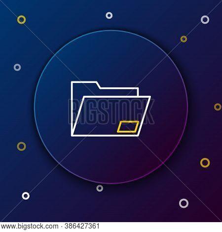 Line Document Folder Icon Isolated On Blue Background. Accounting Binder Symbol. Bookkeeping Managem