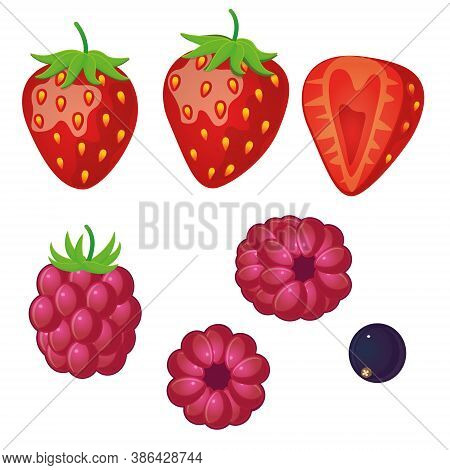 Berries In A Flat Style On A White Background. Isolated. Strawberries, Raspberries, Black Currants.
