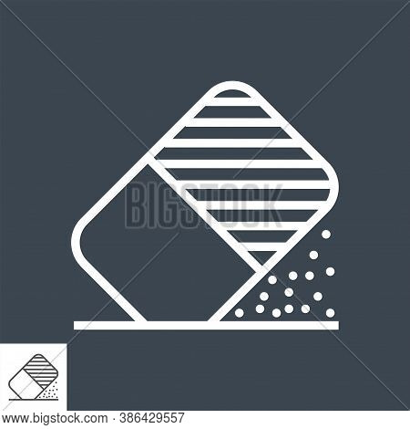 Eraser Tool Thin Line Vector Icon Isolated On The Black Background.