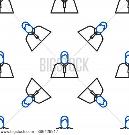 Line Lawyer, Attorney, Jurist Icon Isolated Seamless Pattern On White Background. Jurisprudence, Law