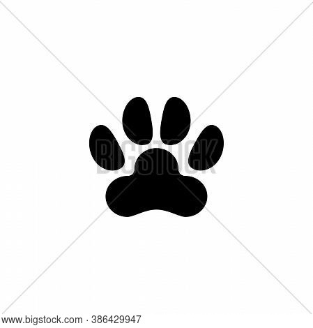 Dog Or Cat Paw Print, Animal Imprint. Flat Vector Icon Illustration. Simple Black Symbol On White Ba