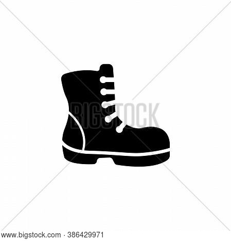 Military Or Lumberjack Shoes, Hiking Boot. Flat Vector Icon Illustration. Simple Black Symbol On Whi