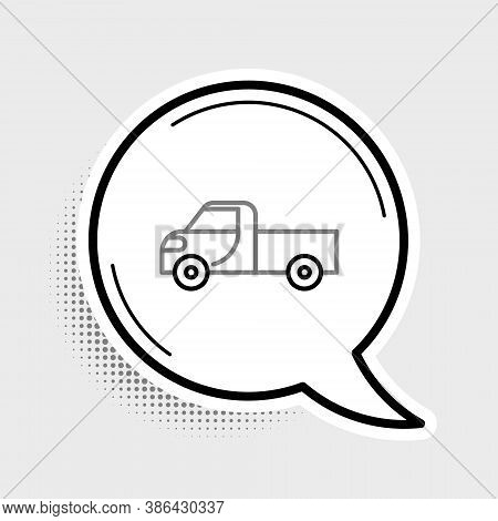 Line Pickup Truck Icon Isolated On Grey Background. Colorful Outline Concept. Vector
