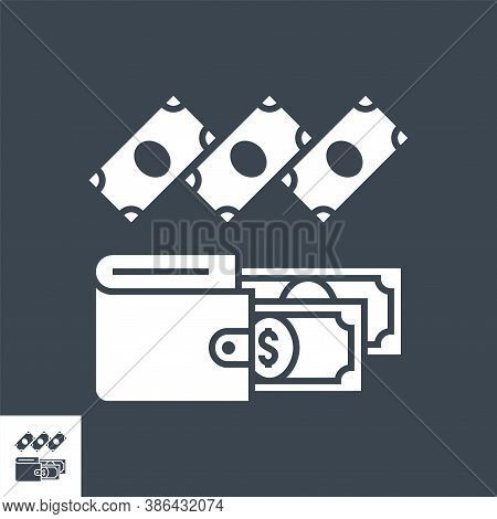 Expenses Related Vector Glyph Icon. Isolated On Black Background. Vector Illustration.