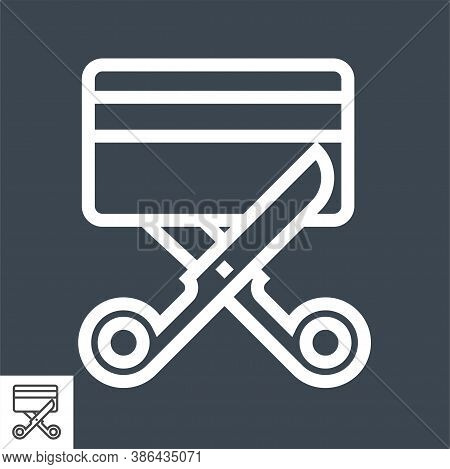 Expired Credit Card Thin Line Vector Icon. Flat Icon Isolated On The Black Background. Editable Eps
