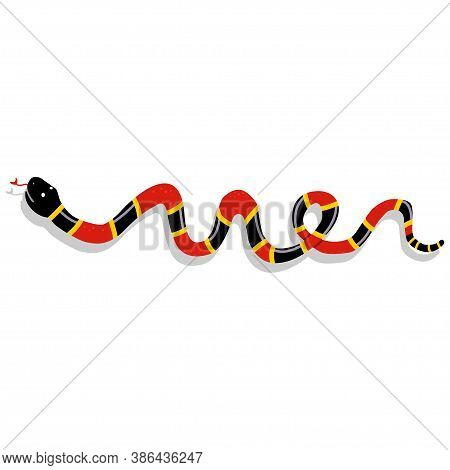 Snake Cartoon Character. Vector Illustration Isolated On White Background. Dangerous And Toxic Natur