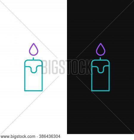 Line Burning Candle Icon Isolated On White And Black Background. Cylindrical Candle Stick With Burni