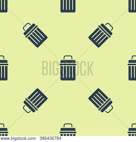 Blue Trash Can Icon Isolated Seamless Pattern On Yellow Background. Garbage Bin Sign. Recycle Basket