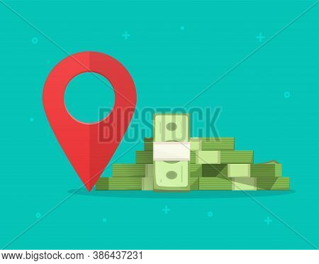 Money Finance Place Pointer Marker Isolated On Color Background, Cashier Atm Changer Or Bank Locatio