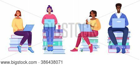 Vector Online Education Set With Young People, Books, Diverse Students, Laptops. Smiling Women And M