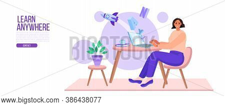 Online Education Or Training Vector Illustration With Woman Student Learning In Internet At Home. Vi