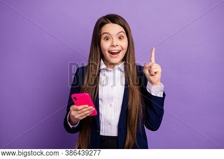 Portrait Of Her She Nice Brainy Small Little Cheerful Cheery Long-haired Creative Girl Using Gadget