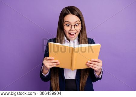 Close-up Portrait Of Her She Lovely Cheerful Amazed Genius Brainy Long-haired Girl Reading Home Task