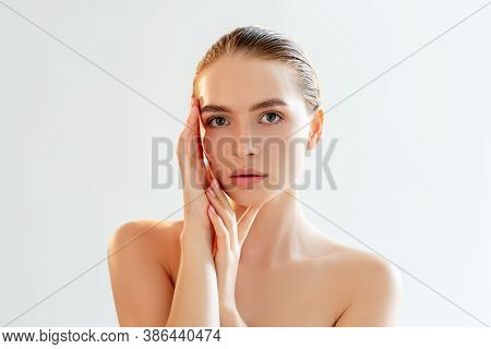Face Contouring. Plastic Surgery. Portrait Of Sensual Woman With Nude Makeup Bare Shoulders Touching